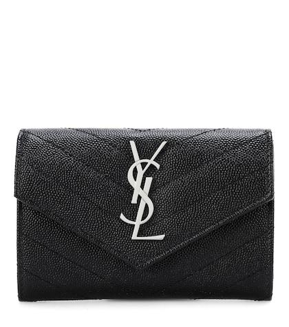 Monogram leather envelope clutch