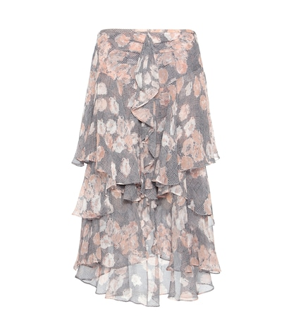 Ruffled Printed Silk Skirt