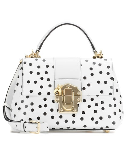 dolce gabbana female lucia polkadotted leather shoulder bag