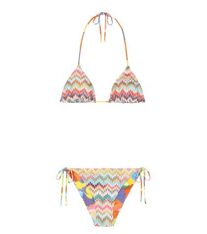 Reversible crochet-knit bikini set