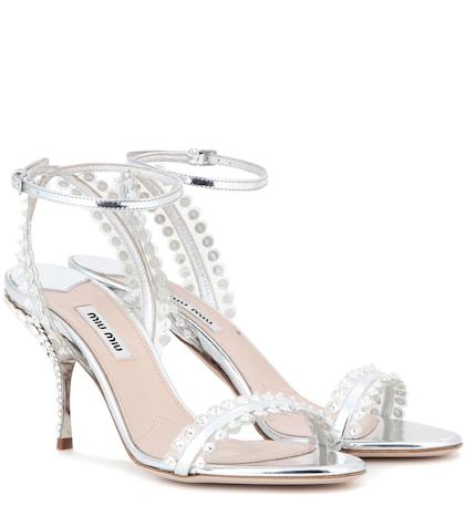 miu miu female 45900 embellished metallic leather sandals