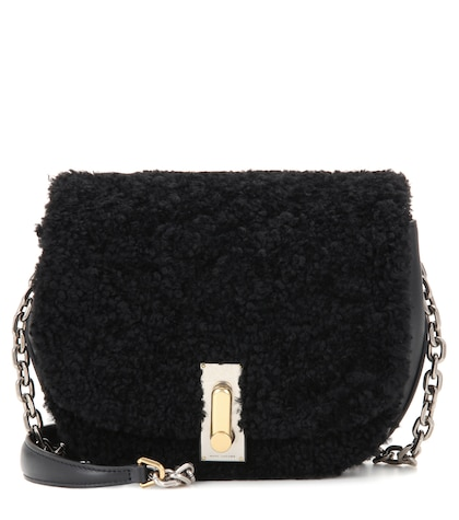 marc jacobs female shearling and leather shoulder bag
