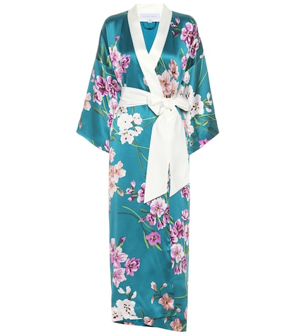 Queenie printed silk robe