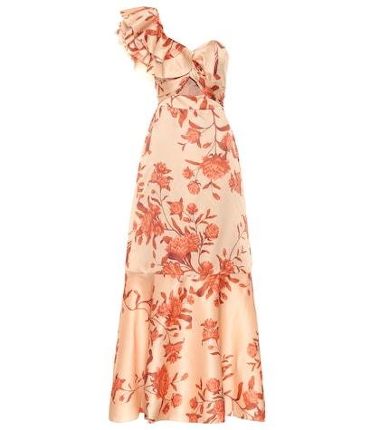 Robe longue Encanto Tropical en soie imprimée