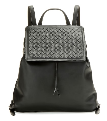 bottega veneta female intrecciato leather backpack