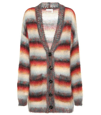 Striped mohair-blend cardigan