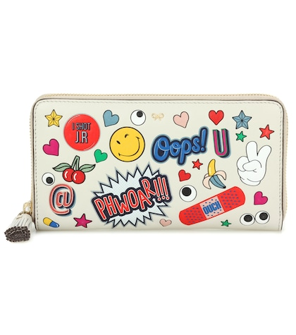 anya hindmarch female large ziparound printed leather wallet