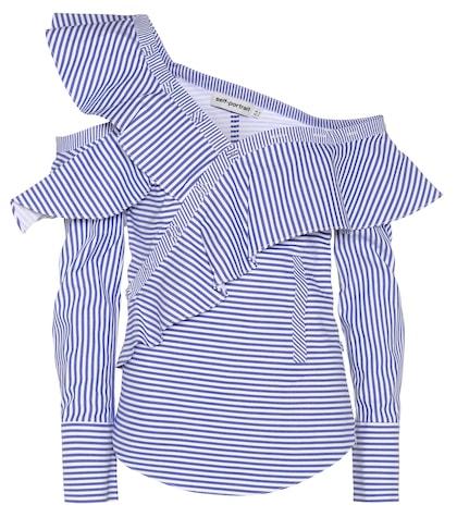 Striped Frill cotton shirt