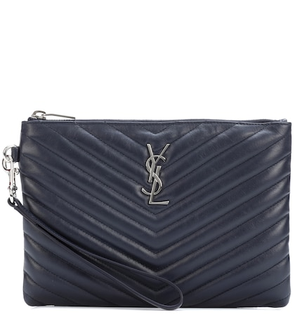 Monogram leather clutch