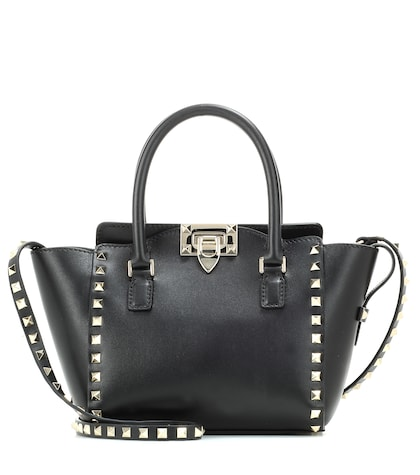 valentino female valentino garavani rockstud double handle leather bag