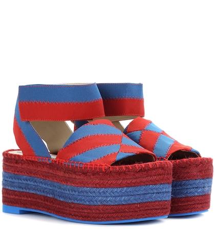 Striped Espadrille Platform Sandals
