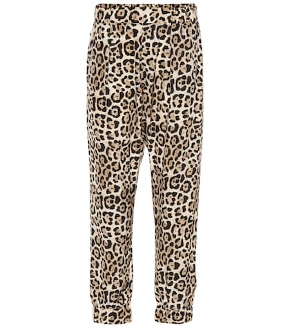 Leopard printed silk pants