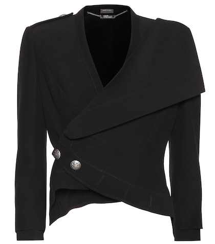 alexander mcqueen female cropped crepe jacket