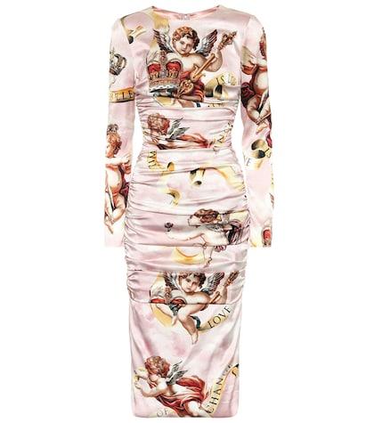 Cherub silk-satin dress
