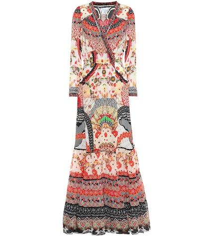 Robe longue en soie imprimée