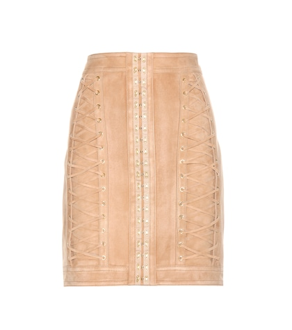 balmain female suede skirt