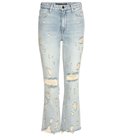 alexander wang female grind highrise cropped flared jeans