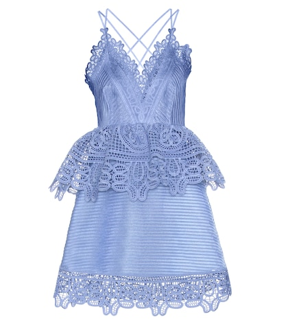 Lace-trimmed Pemplum Dress