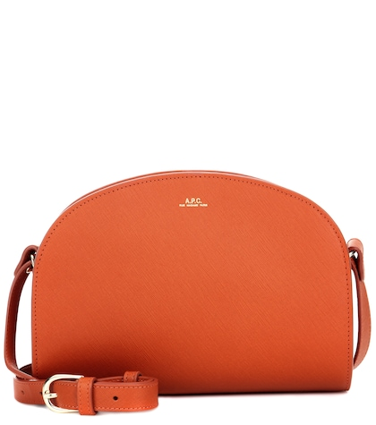 apc female demilune leather shoulder bag