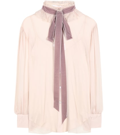 Crêpe Georgette Blouse With Velvet Pussy Bow