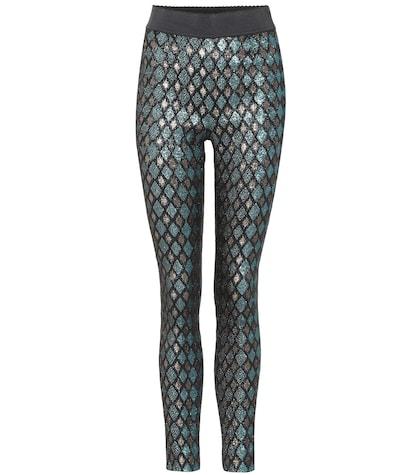 Lamé high-waisted leggings