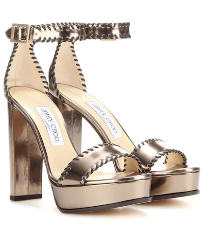 jimmy choo female holly 120 platform patent leather sandals