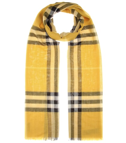 Giant Check Wool And Silk Scarf