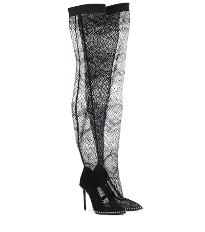 alexander wang female lace overtheknee boots