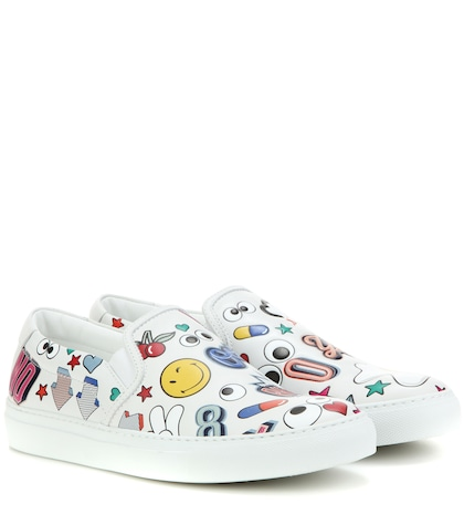 anya hindmarch female all over wink leather slipon sneakers