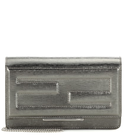 Wallet on Chain metallic leather clutch