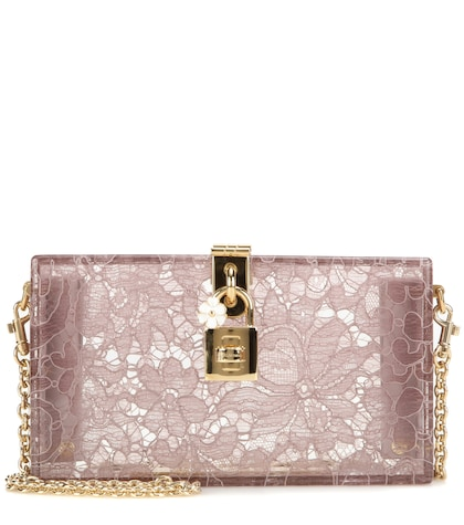 Dolce Embellished Clutch in Pink Lace