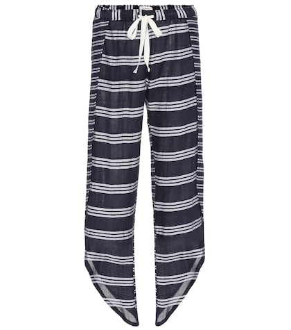 Edna striped cotton-blend trousers