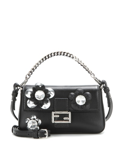 fendi female micro baguette crystalembellished leather shoulder bag