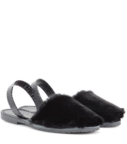 Classic fur and snakeskin sandals