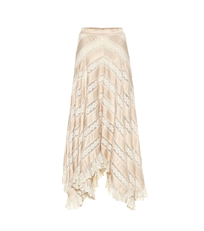 Unbridled satin and lace skirt
