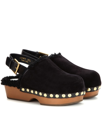 alexander mcqueen female shearlinglined suede platform clogs