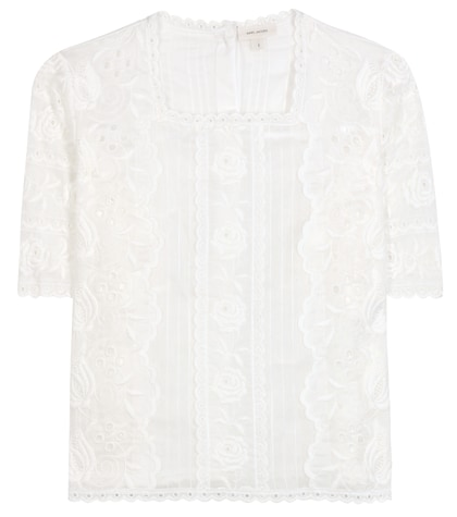 marc jacobs female embroidered cotton blouse