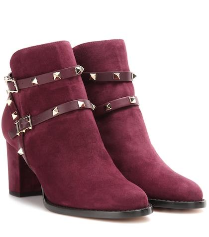 valentino female valentino garavani rockstud suede ankle boots