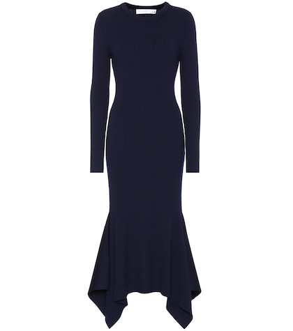 Rib-knit wool sweater dress