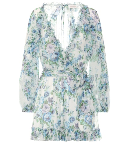 Floral silk wrap playsuit