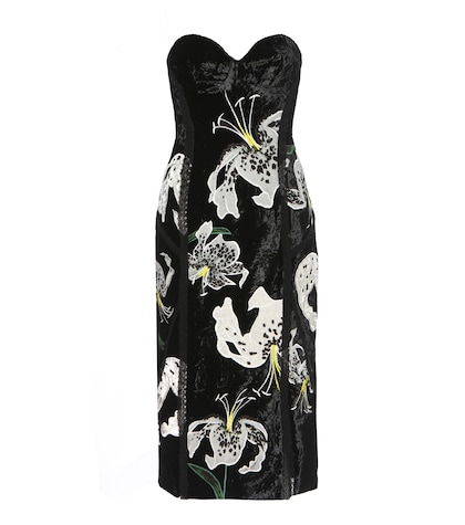 Rebecca embroidered velvet dress