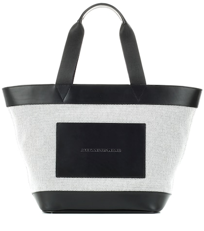 alexander wang female leather and canvas tote bag