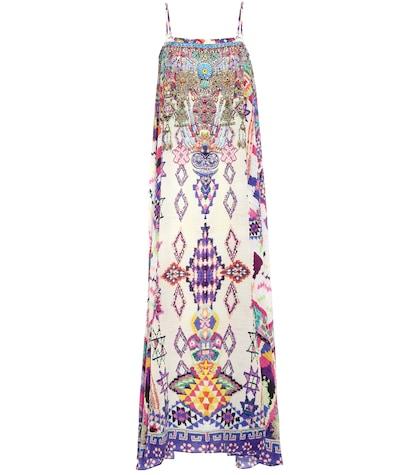 Embellished Silk Strapless Dress