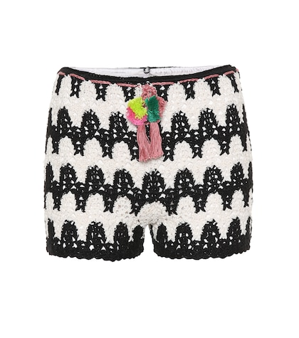 Zebra crocheted cotton shorts