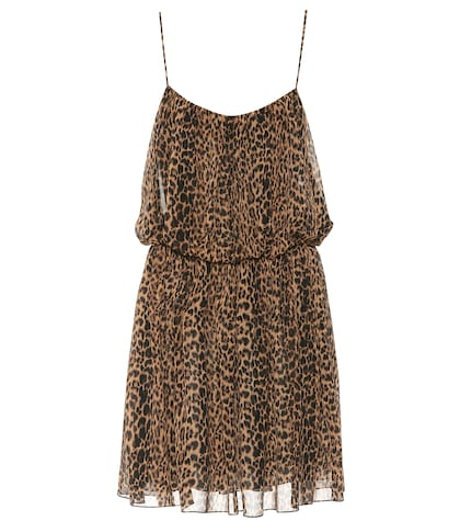 Leopard-printed silk dress