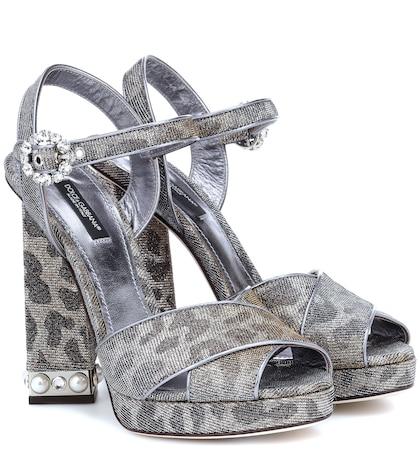 Leopard-print platform sandals