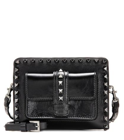 Rockstud Noir Small Leather Shoulder Bag