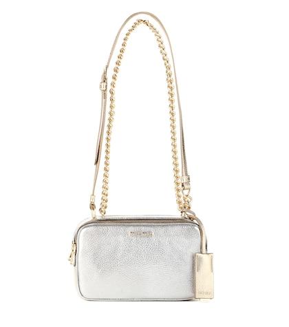 miu miu female metallic leather shoulder bag