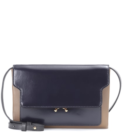 Trunk leather crossbody bag