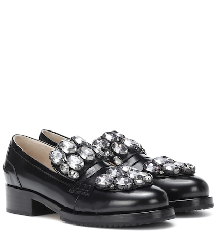 Crystal-embellished leather loafers